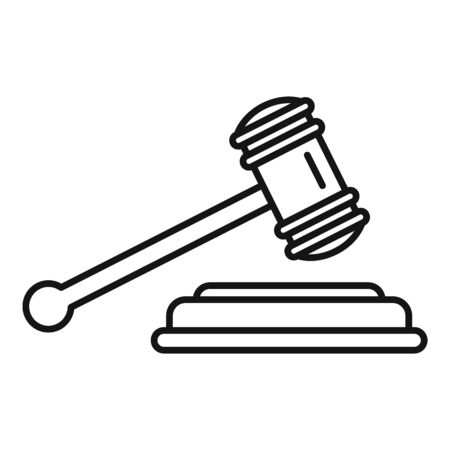 Judge gavel icon. Outline judge gavel vector icon for web design isolated on white background 向量圖像