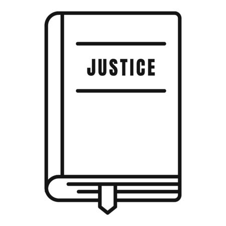 Justice book icon, outline style