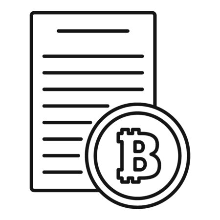 Bitcoin paper icon, outline style Ilustrace