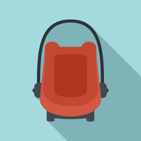 Baby car seat booster icon, flat style