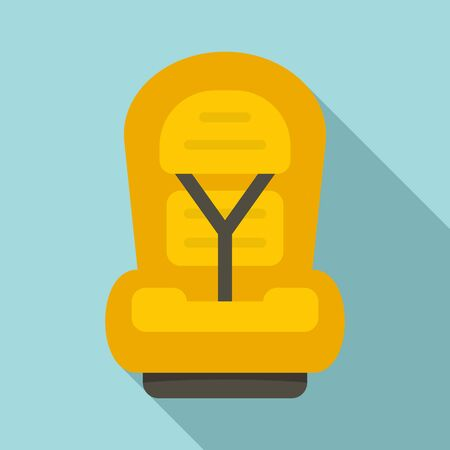 Family baby car seat icon, flat style