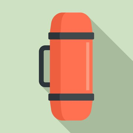 Home insulated bottle icon, flat style