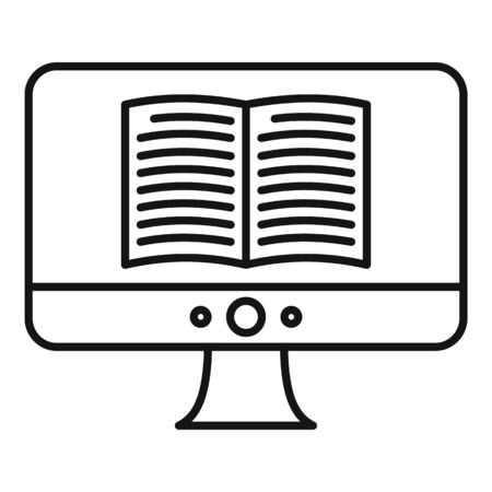 Computer ebook icon, outline style