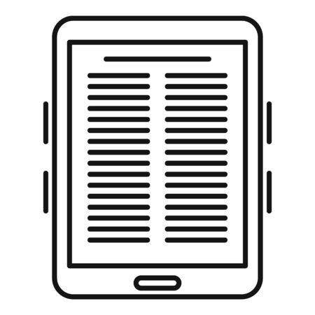 Paper ebook icon, outline style