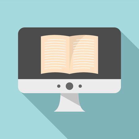 Computer ebook icon. Flat illustration of computer ebook vector icon for web design 向量圖像