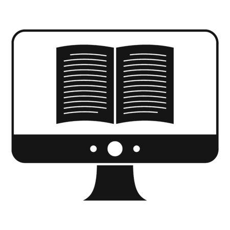 Computer ebook icon, simple style
