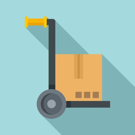 Warehouse cart icon. Flat illustration of warehouse cart vector icon for web design Stock Illustratie