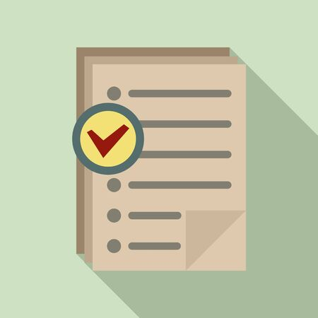 Approved inventory papers icon. Flat illustration of approved inventory papers vector icon for web design