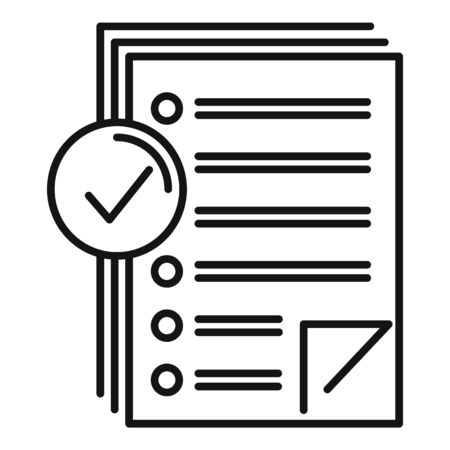 Approved inventory papers icon, outline style