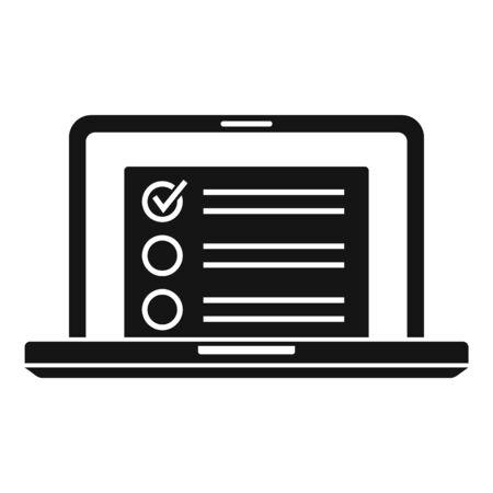 Laptop inventory list icon. Simple illustration of laptop inventory list vector icon for web design isolated on white background Illusztráció