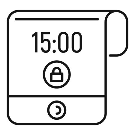 Contemporary flexible display icon, outline style Illusztráció