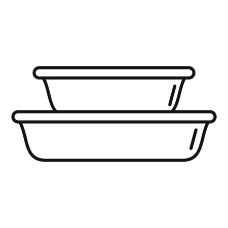 Plastic dishes icon, outline style