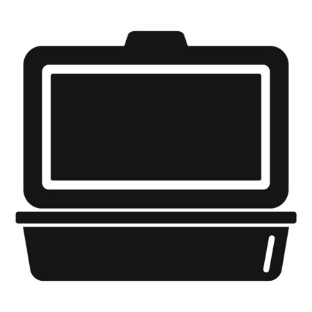 Open food container icon, simple style Çizim