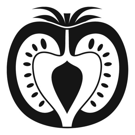 Half tomato icon, simple style Иллюстрация