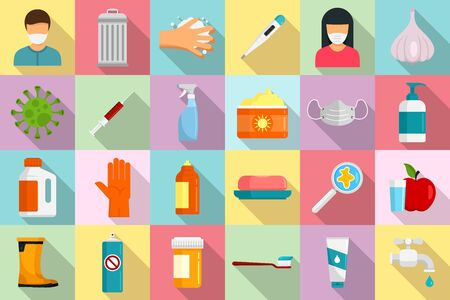 Prevention icons set, flat style Ilustracja