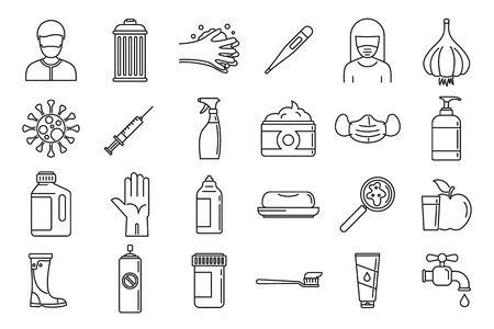 Prevention disease icons set, outline style Ilustracja