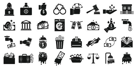 Money laundering icons set, simple style