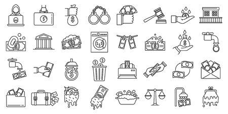 Money laundering offshore icons set, outline style 向量圖像