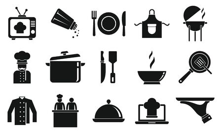 Cooking show icons set, simple style