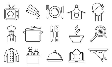 Cooking show bakery icons set, outline style