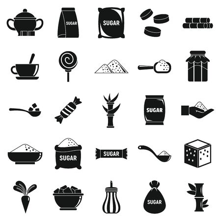 Sugar icons set, simple style