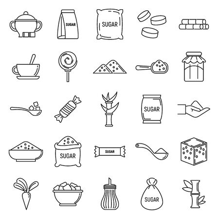 Sugar cane icons set, outline style