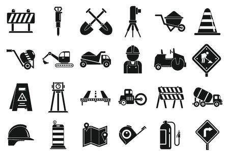 Road repair icons set. Simple set of road repair vector icons for web design on white background