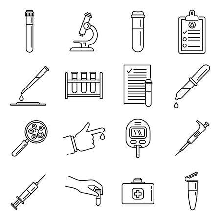 Medical blood test icons set. Outline set of medical blood test vector icons for web design isolated on white background