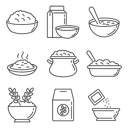 Oatmeal icons set. Outline set of oatmeal vector icons for web design isolated on white background
