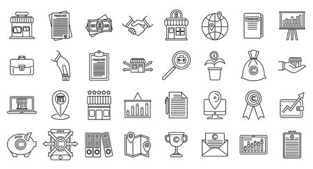 Franchise store icons set, outline style