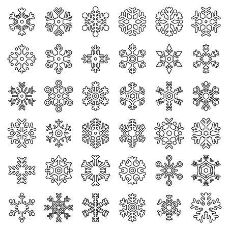 Schneeflocke-Weihnachtsikonen eingestellt. Umreißen Sie den Satz Schneeflockenweihnachtsvektorikonen für das Webdesign, das auf weißem Hintergrund lokalisiert wird Vektorgrafik