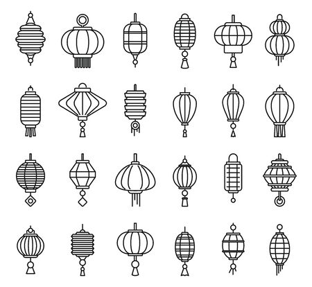 Street chinese lantern icons set, outline style
