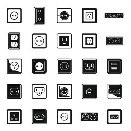Power socket plug icons set, simple style Stock Illustratie