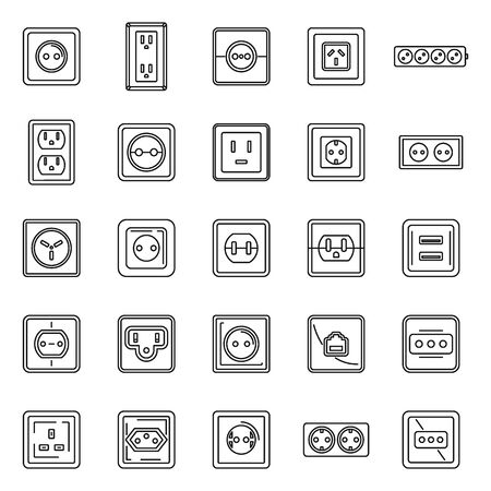 Electric power socket icons set, outline style