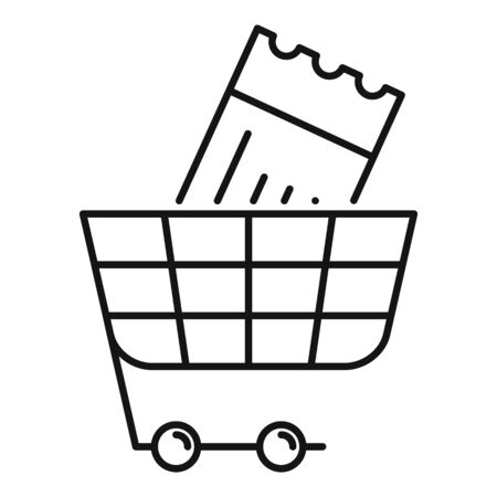 Online ticket shop cart icon. Outline online ticket shop cart vector icon for web design isolated on white background