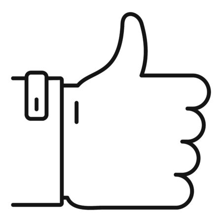 Thumb up icon. Outline thumb up vector icon for web design isolated on white background Illustration