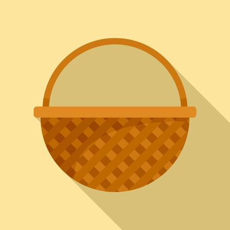 Container wicker icon, flat style