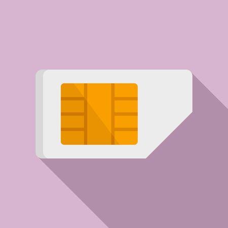 Phone sim card icon, flat style
