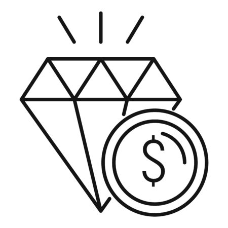 Diamond icon, outline style