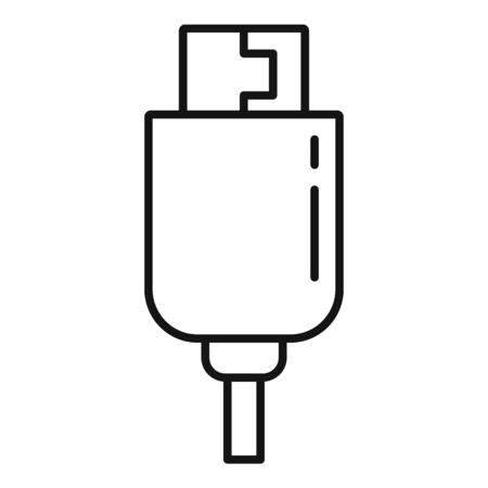 Phone usb cable icon. Outline phone usb cable vector icon for web design isolated on white background Illustration