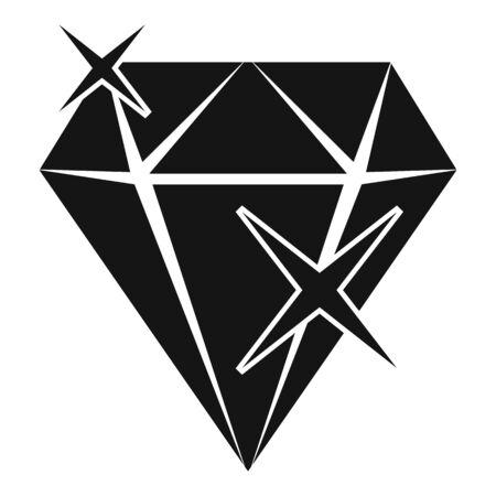 Shiny diamond icon, simple style
