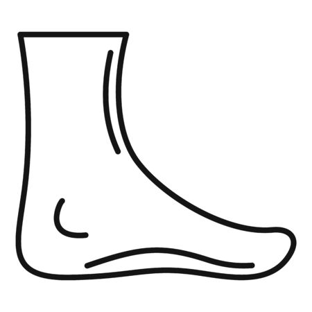 Barefoot icon, outline style Illustration