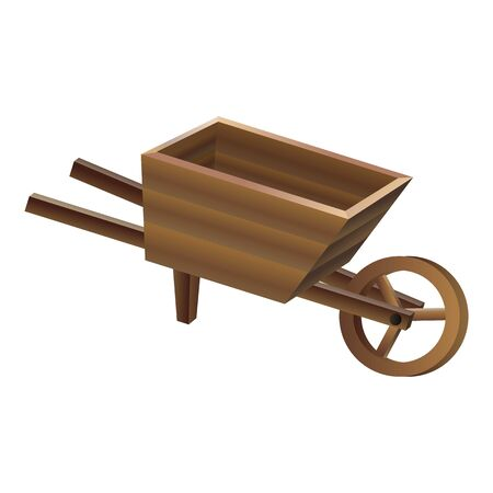 Wood wheelbarrow icon, cartoon style