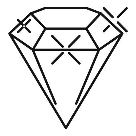 Diamond icon. Outline diamond vector icon for web design isolated on white background Ilustracja