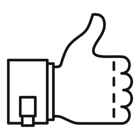 Customer thumb up icon, outline style