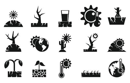 Drought icons set, simple style