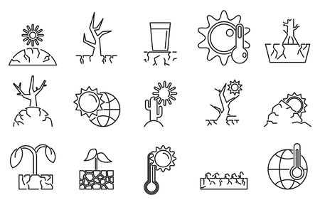 Drought environment icons set, outline style