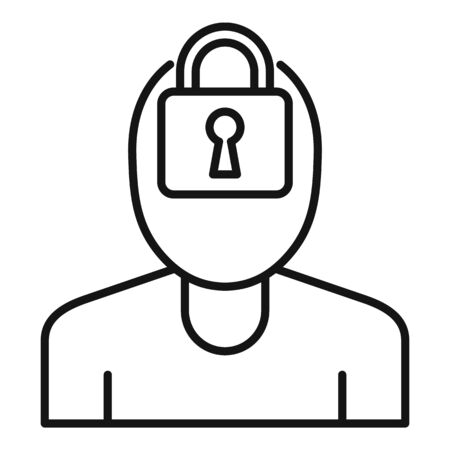Mental person lock icon, outline style