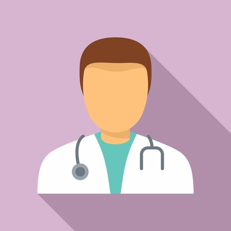 Mental hospital doctor icon, flat style