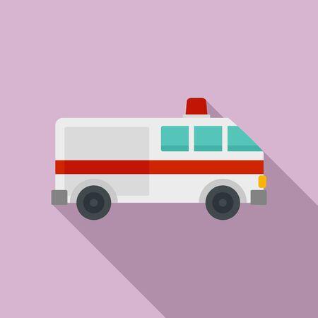 Ambulance car icon. Flat illustration of ambulance car vector icon for web design